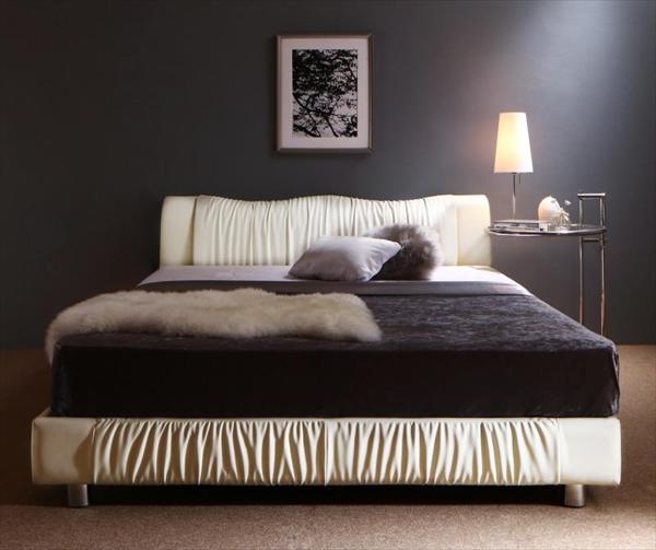ライト・コンセント付きモダンデザインベッド Vesal ヴェサール スタンダードポケットコイルマットレス付き セミダブル   「ローベッド フロアベッド デザインベッド レザータイプ レザーベッド 床板 すこの仕様 通気性 美しい姿」