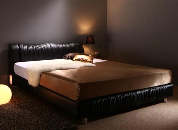 ライト・コンセント付きモダンデザインベッド Vesal ヴェサール プレミアムボンネルコイルマットレス付き シングル   「ローベッド フロアベッド デザインベッド レザータイプ レザーベッド 床板 すこの仕様 通気性 美しい姿」