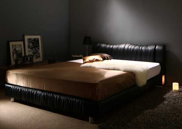ライト・コンセント付きモダンデザインベッド Vesal ヴェサール 国産カバーポケットコイルマットレス付き シングル   「ローベッド フロアベッド デザインベッド レザータイプ レザーベッド 床板 すこの仕様 通気性 美しい姿」