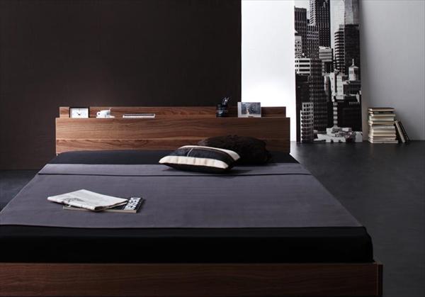棚・コンセント付きフロアベッド W.coRe ダブルコア 国産カバーポケットコイルマットレス付き ダブル 「フロアベッド ロータイプベッド ローベッド 木製ベッド 棚 マットレ付き」