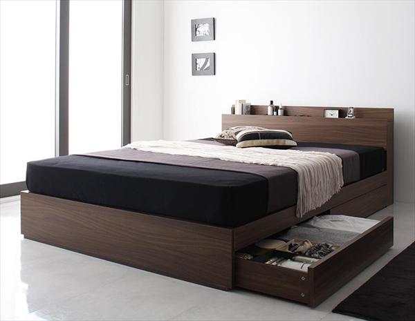 棚・コンセント付き収納ベッド General ジェネラル プレミアムポケットコイルマットレス付き ダブル   「収納付き ベッド シンプル ウォルナット柄」