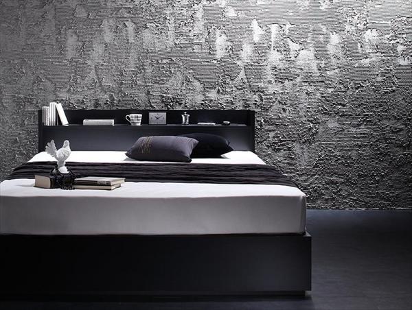 棚・コンセント付き収納ベッド VEGA ヴェガ プレミアムボンネルコイルマットレス付き ダブル    【ベッド 収納ベッド ダブル コンセント付き 棚 マットレス付き】