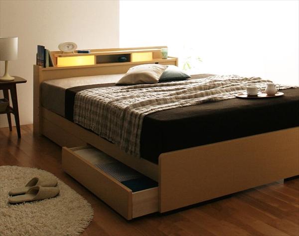 照明・棚付き収納ベッド【All-one】オールワン【ポケットコイルマットレス付き】シングル  ポケットコイルマットレスは2つ折り仕様  「棚付き 収納ベッド シングル 」