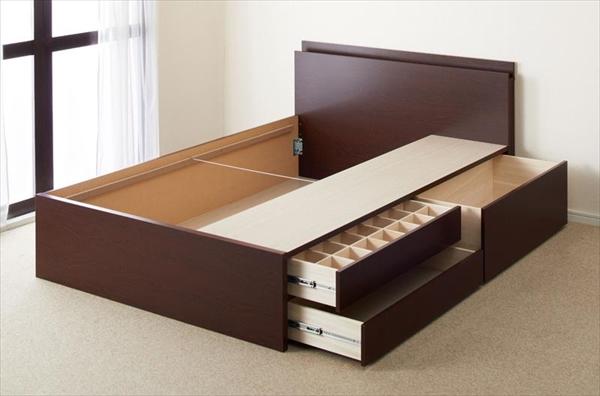 組立設置付 日本製_棚・コンセント・仕切り板付き大容量チェストベッド Inniti イニティ ベッドフレームのみ ダブル   「家具 ベッド チェストベッド 国産 収納 ベッド ほこり防止 大容量収納 棚付き 収納ベッド」