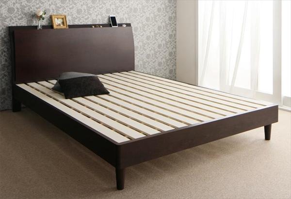 棚・コンセント付きモダンデザインすのこベッド【Wurde-R】ヴルデアール【フレームのみ】ダブル   「すのこベッド 上品 抜群な通気性 優れ 年中快適」