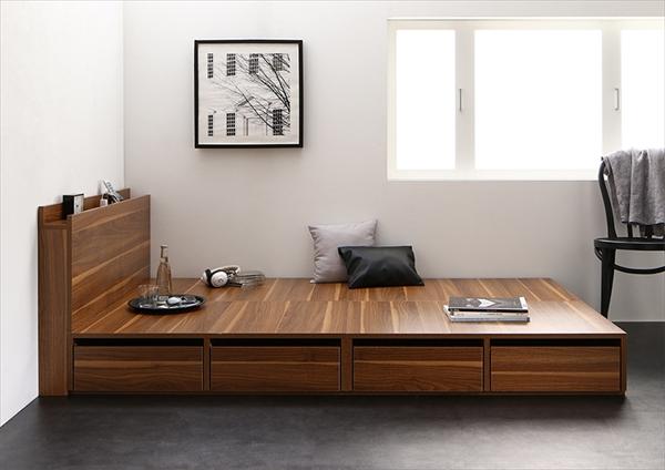 高さが選べる棚コンセント付きデザイン収納ベッド Schachtel シャフテル ベッドフレームのみ 引き出し4杯 ロータイプ セミダブル