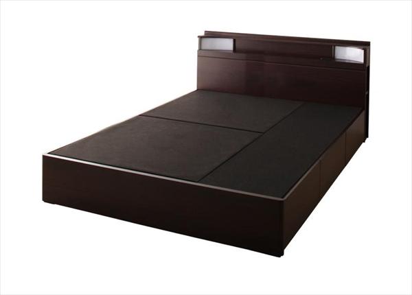 棚・照明・コンセント付き収納ベッド【Luar】ルアール【フレームのみ】ダブル  「収納ベッド ヘッドボード棚 コンセント付 ベッド フレーム ダブル」
