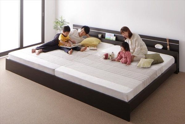 親子で寝られる・将来分割できる連結ベッド JointEase ジョイント・イース 国産ボンネルコイルマットレス付き ワイドK280   ローベッド フロアベッド ファミリーベッド 最大280cm 棚・照明付き 高品質 国産フレーム
