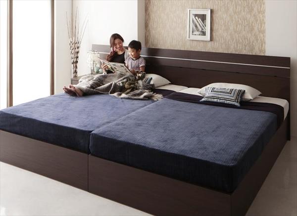 家族で寝られるホテル風モダンデザインベッド Confianza コンフィアンサ 国産ボンネルコイルマットレス付き ワイドK220(S+SD)  ベッドサイドテーブル別売 「大型ベッド 国産フレーム マットレス付き 大容量収納スペース ゆったり 」