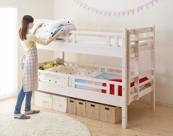 ダブルサイズになる・添い寝ができる二段ベッド【kinion】キニオン シングル・シングル  「2段ベッド ロータイプ 床下収納 上下段分割式 頑丈設計 低ホルムアルデヒド 木製」