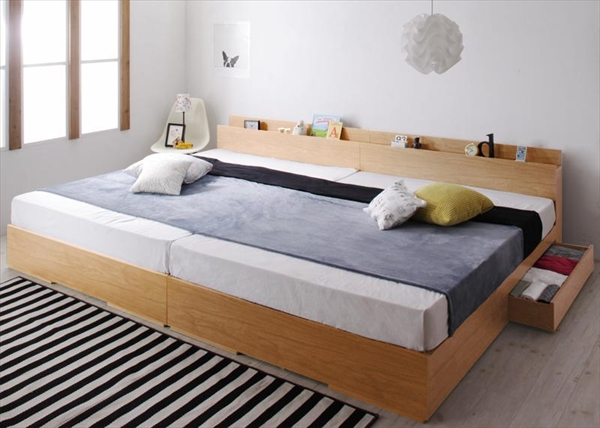 棚・コンセント・収納付き大型モダンデザインベッド Cedric セドリック スタンダードボンネルコイルマットレス付き ワイドK220(S+SD)    「インテリア 大型 収納ベッド 棚 コンセント付 ファミリーベッド 分割できる」