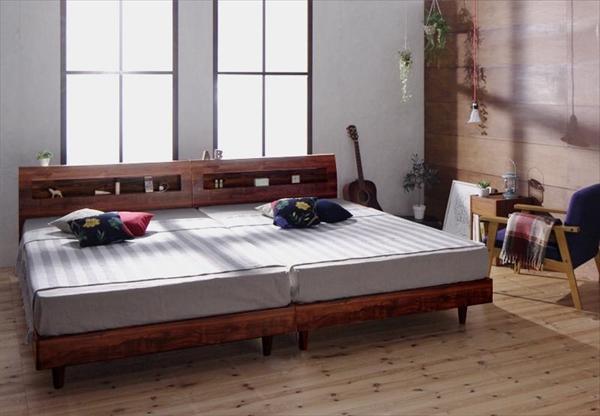 棚・コンセント付デザインすのこベッド Mowe メーヴェ マルチラススーパースプリングマットレス付き ダブル  天然木 通気性の良いすのこ仕様 桐 年中快適 美しい背面化粧 ヘッドボード 快適な寝室 高級感
