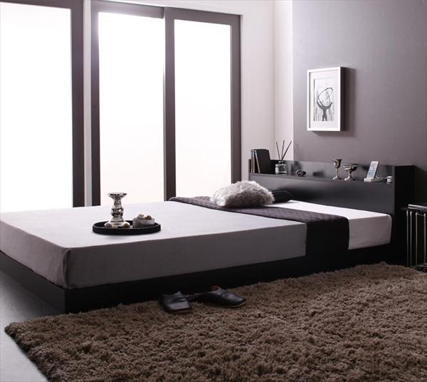 棚・コンセント付きローベッド Calidas カリダス スタンダードポケットコイルマットレス付き ダブル   「家具 ベッド フロアベッド 通気性も抜群 強化床板仕様 小物を置けるヘッドボード」