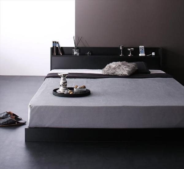棚・コンセント付きローベッド Calidas カリダス プレミアムボンネルコイルマットレス付き ダブル   「家具 ベッド フロアベッド 通気性も抜群 強化床板仕様 小物を置けるヘッドボード」
