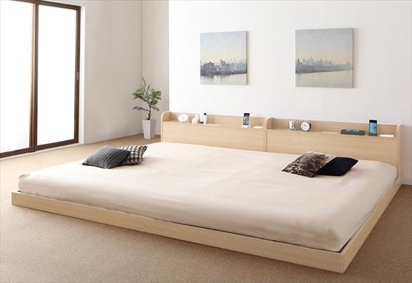 布団が使えるデザインローベッド Ailey アイリー ボリューム敷布団付き ワイドK240(SD×2)   「ローベッド フロアベッド ファミリーベッド 便利なライト付き棚」