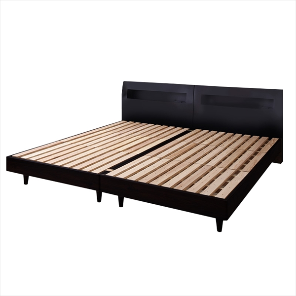 棚・コンセント付きデザインすのこベッド Windermere ウィンダミア ベッドフレームのみ クイーン(SS×2)   「桐すのこ すのこベッド 通気性抜群 高級感 北欧 木目 美しい 夏は爽やか、冬は暖か」