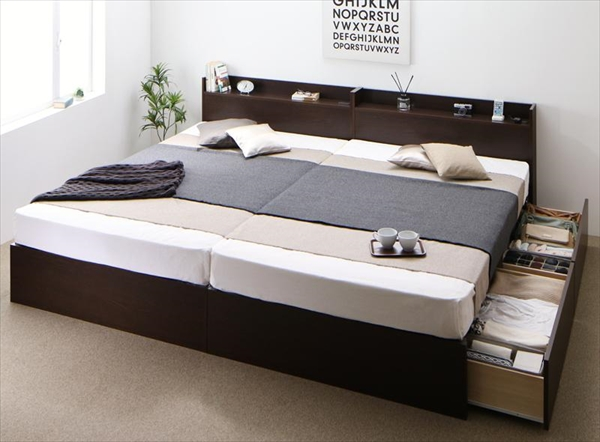 連結 棚・コンセント付収納ベッド Ernesti エルネスティ 羊毛入りデュラテクノマットレス付き すのこ B(S)+A(SD)タイプ ワイドK220(S+SD)   2台連結セット すのこ仕様  「 国産品質 収納ベッド 夏は爽やか、冬は暖か 連結は簡単!工具なし マットレス付き」