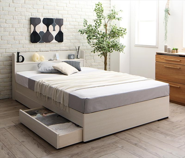 工具いらずの組み立て・分解簡単収納ベッド Lacomita ラコミタ ボンネルコイルマットレス付き シングル  「国産フレーム 高品質 収納ベッド 棚付き 木製 木目 2口コンセント付き」