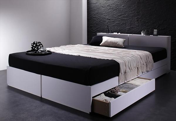 棚・コンセント付き収納ベッド Oslo オスロ 国産カバーポケットコイルマットレス付き ダブル  「家具 ベッド 収納ベッド 木製 2口コンセント付き モダンデザイン マットレス付き 」