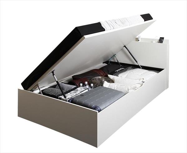 シンプルデザイン大容量収納跳ね上げ式ベッド Fermer フェルマー 薄型スタンダードポケットコイルマットレス付き 横開き セミシングル 深さラージ  「収納ベッド 棚付 軽くスマートな開閉 ラクラク収納 跳ね上げ構造 最大収納量700L」