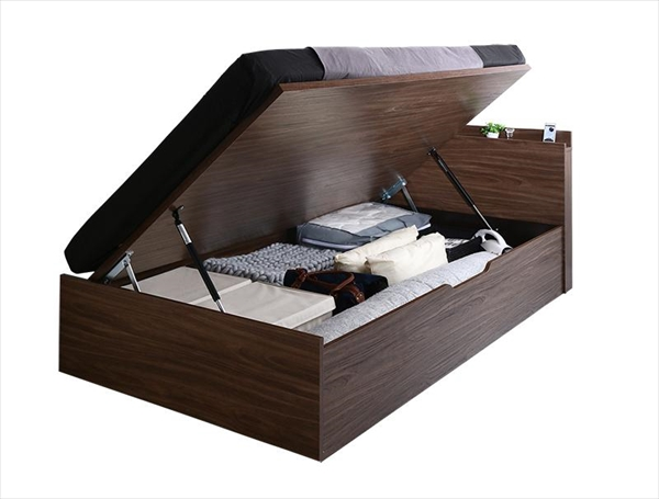 ウォルナットデザイン大容量収納跳ね上げベッド Ostade オスターデ 薄型スタンダードボンネルコイルマットレス付き 横開き セミダブル 深さラージ 「収納ベッド 棚付 ラクラク収納 スマートな開閉 美しい木目 拘りの品質」