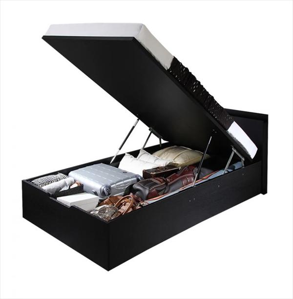 組立設置 シンプルデザイン大容量収納跳ね上げ式ベッド Fermer フェルマー 薄型スタンダードボンネルコイルマットレス付き 縦開き シングル 深さラージ  「収納ベッド 棚付 軽くスマートな開閉 ラクラク収納 跳ね上げ構造 最大収納量700L」