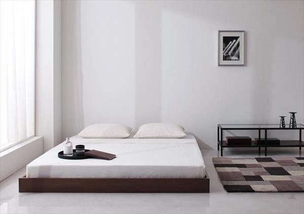 シンプルデザイン/ヘッドボードレスフロアベッド Rainette レネット プレミアムボンネルコイルマットレス付き ダブル   「フロアベッド シンブルベッド 木目 木製ベッド 耐熱:耐久性に優れた強化樹脂仕上げ」
