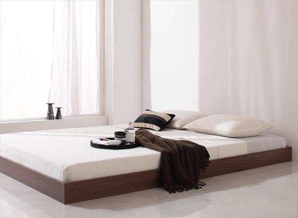 シンプルデザイン/ヘッドボードレスフロアベッド Rainette レネット マルチラススーパースプリングマットレス付き セミダブル   「フロアベッド シンブルベッド 木目 木製ベッド 耐熱:耐久性に優れた強化樹脂仕上げ」