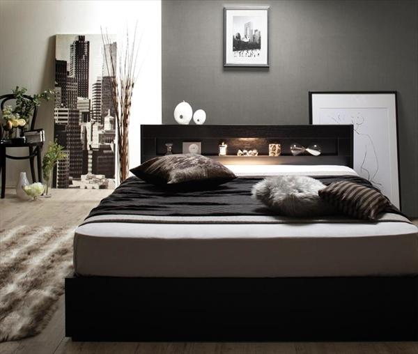 LEDライト・コンセント付き収納ベッド Estado エスタード マルチラススーパースプリングマットレス付き セミダブル    「収納ベッド LED照明 棚 コンセント 引出し収納 」