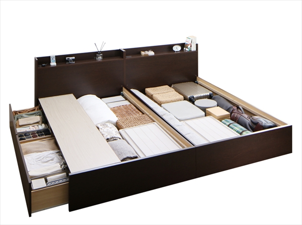 連結 棚・コンセント付収納ベッド Ernesti エルネスティ ベッドフレームのみ 床板 A+Bタイプ ワイドK200(S×2) 2台連結セット 床板仕様  「 国産品質 収納ベッド 通気性に優れる、湿度を心地よく調整 連結は簡単!工具なし 」