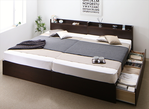お客様組立 連結 棚・コンセント付収納ベッド Ernesti エルネスティ スタンダードポケットコイルマットレス付き B(S)+A(SD)タイプ ワイドK220  天然木 床板仕様 通気性優れる 湿度調整 国産フレーム 安心設計 大容量収納