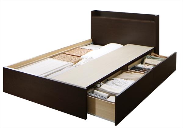 組立設置付 連結 棚・コンセント付収納ベッド Ernesti エルネスティ ベッドフレームのみ Aタイプ セミダブル (2杯引出しタイプ) 天然木 床板仕様 通気性優れる 湿度調整 国産フレーム 安心設計 大容量収納