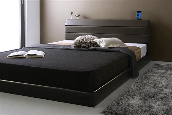 棚・コンセント付きレザーすのこベッド Ivan イヴァン ポケットコイルマットレス付き セミダブル  「すのこベッド 通気性良い レザーベッド 高級感 フレーム国産  マットレス付き」