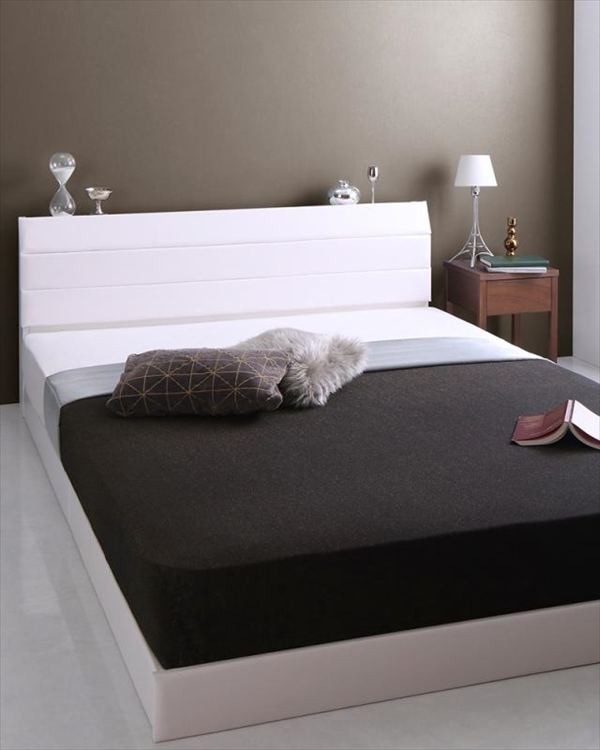 棚・コンセント付きレザーすのこベッド Ivan イヴァン ポケットコイルマットレス付き ダブル  「すのこベッド 通気性良い レザーベッド 高級感 フレーム国産  マットレス付き」