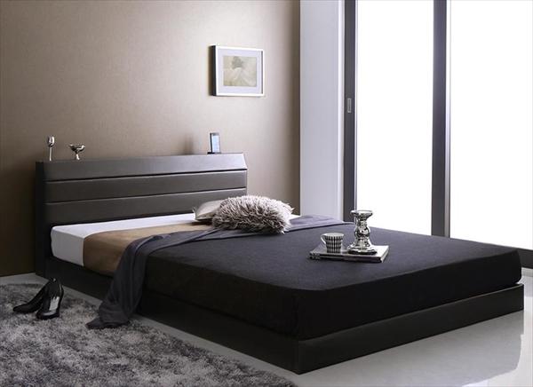 棚・コンセント付きレザーすのこベッド Ivan イヴァン 国産ポケットコイルマットレス付き シングル  「すのこベッド 通気性良い レザーベッド 高級感 フレーム国産  マットレス付き」