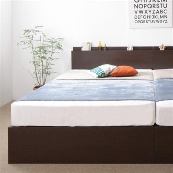 お客様組立 壁付けできる国産ファミリー連結収納ベッド Tenerezza テネレッツァ 羊毛入りゼルトスプリングマットレス付き Bタイプ セミダブル