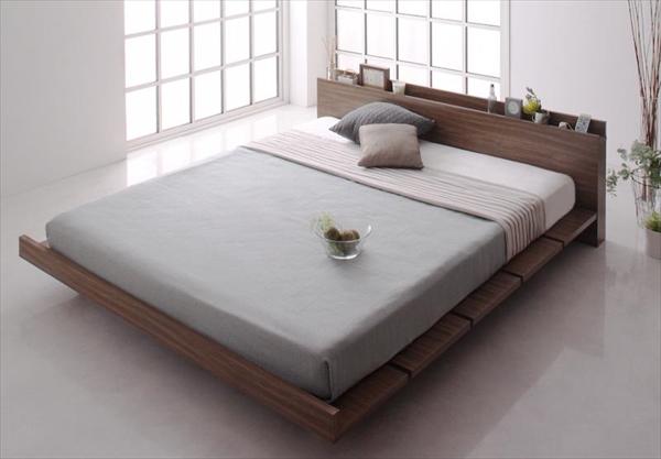 モダンデザインローベッド FRANCLIN フランクリン プレミアムボンネルコイルマットレス付き ナローステージ クイーン(Q×1) フレーム幅180   木製ベッド フロアベッド まるでデザイナーズベッド 木目 ベッドルーム 美しい背面 贅沢でゆったり