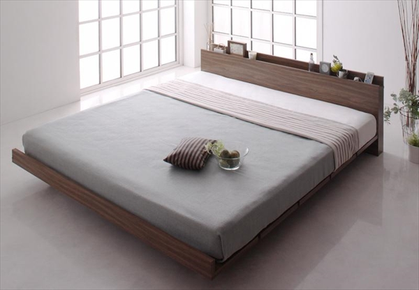 モダンデザインローベッド FRANCLIN フランクリン プレミアムボンネルコイルマットレス付き フルレイアウト キング(K×1) フレーム幅180   木製ベッド フロアベッド まるでデザイナーズベッド 木目 ベッドルーム 美しい背面 贅沢でゆったり