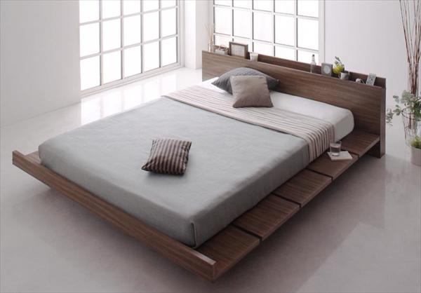 モダンデザインローベッド FRANCLIN フランクリン プレミアムポケットコイルマットレス付き ワイドステージ ダブル フレーム幅180   木製ベッド フロアベッド まるでデザイナーズベッド 木目 ベッドルーム 美しい背面 贅沢でゆったり