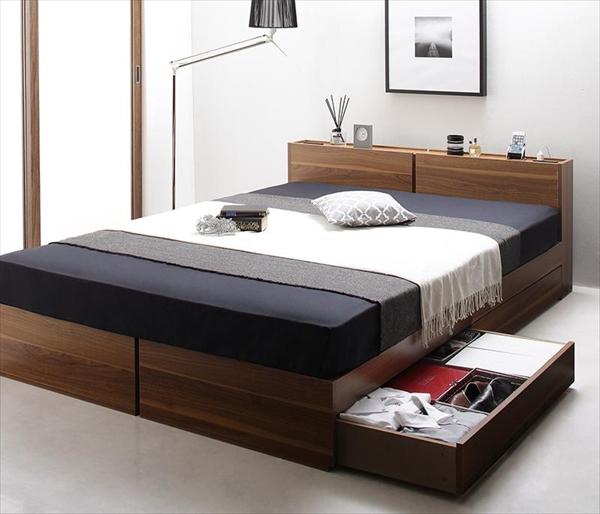 棚・コンセント付き収納ベッド Seelen ジーレン 三つ折りウレタンマットレス付き ダブル  「家具 ベッド 収納ベッド 木製 2口コンセント付き モダンデザイン マットレス付き」