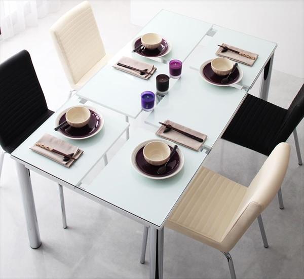 期間限定 ガラスデザインダイニング De modera ディ・モデラ 5点セット(テーブル+チェア4脚) W150  「ダイニング5点セット ダイニングテーブル ガラステーブル テーブル ダイニングチェア いす 椅子」