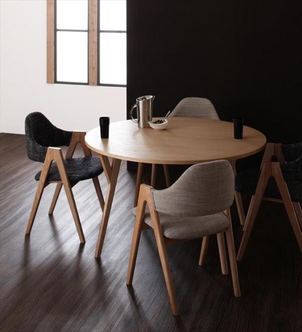 北欧モダンデザインダイニング Rund ルント 5点セット(テーブル+チェア4脚) 直径120 「北欧 天然木 ダイニング5点セット 丸いテーブル 円形テーブル ダイニングチェア」