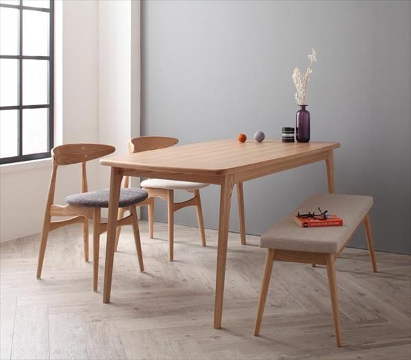 北欧デザイナーズダイニングセット Cornell コーネル 4点セット(テーブル+チェア2脚+ベンチ1脚) W150  「家具 インテリア 北欧 天然木 木目 ダイニングテーブル チェア ベンチ」
