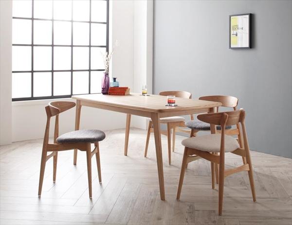 北欧デザイナーズダイニングセット Cornell コーネル 5点セット(テーブル+チェア4脚) W150   「家具 インテリア 北欧 天然木 木目 ダイニングテーブル チェア」
