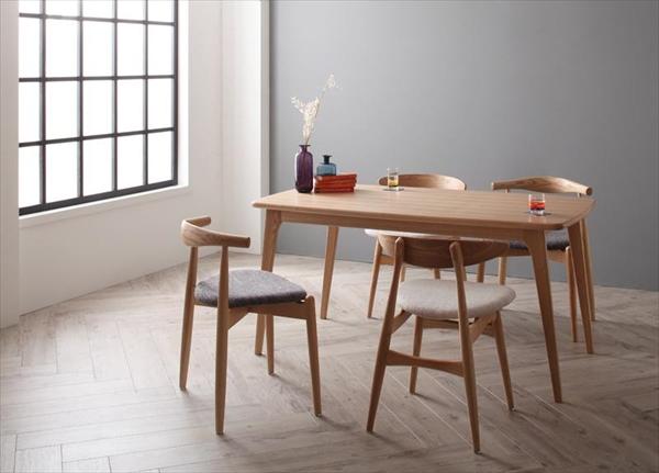 北欧デザイナーズダイニングセット Cornell コーネル 5点セット(テーブル+チェア4脚) ミックス W150  「家具 インテリア 北欧 天然木 木目 ダイニングテーブル チェア」