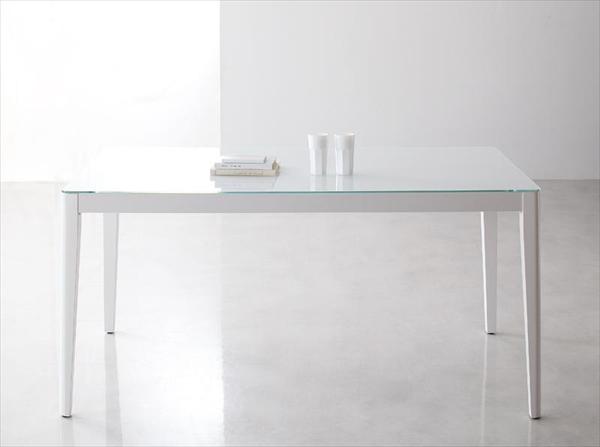ハイグレードガラスダイニング【Placidez】プラシデス テーブル(グロッシーホワイト) ガラステーブル