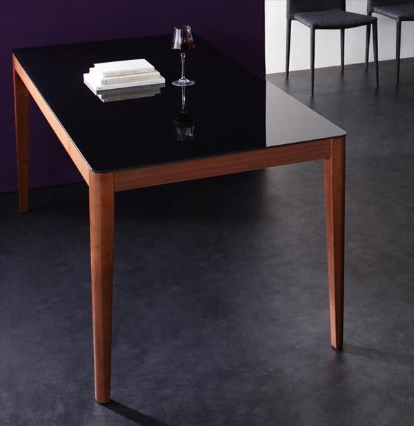 ハイグレードガラスダイニング【Placidez】プラシデス テーブル(ウォールナットブラック) ガラステーブル