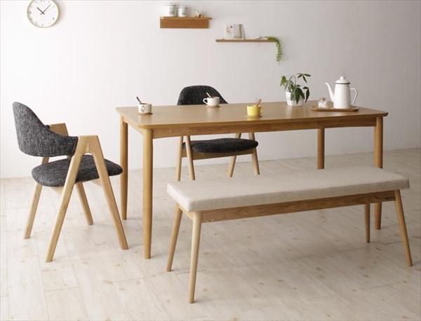 天然木 北欧ナチュラルデザイン ダイニング【Tiffin】ティフィン/4点セット(テーブル+チェア×2+ベンチ×1) 「北欧木製 ダイニングド4点セット ダイニングセット テーブル チェア ベンチ 椅子 イス 木目」