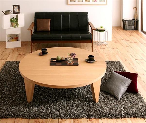 期間限定 天然木和モダンデザイン 円形折りたたみテーブル【MADOKA】まどか/円形タイプ(幅120)
