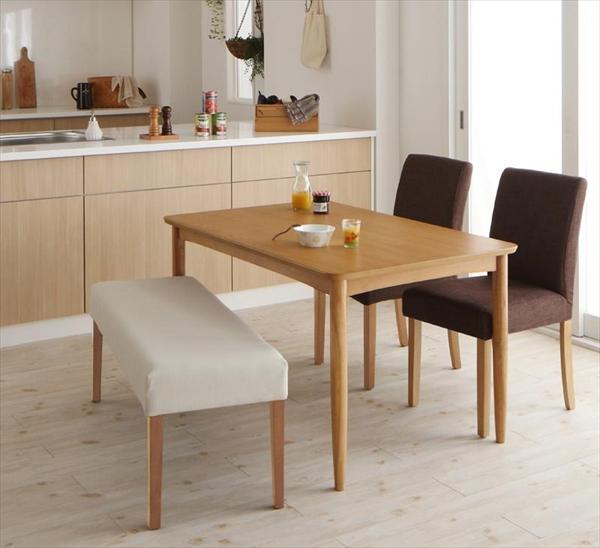 撥水防汚機能付き! カバーリングダイニング Repel リペル 4点セット(テーブル+チェア2脚+ベンチ1脚) W120 「天然木 テーブル 木目 シンプルで美しい ウレタン塗装 チェア ベンチ 長椅子 カバーリング仕様 」